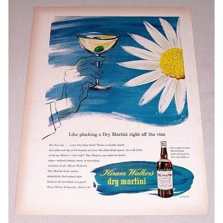 1946 Hiram Walker's Dry Martini Daisy Flower Ferri Art Color Ad