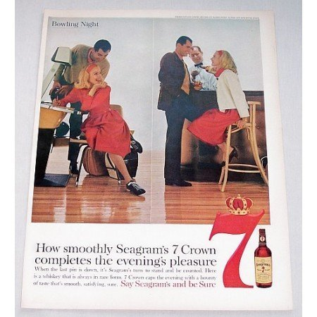 1960 Seagram's 7 Crown Whiskey Color Print Ad - Bowling Night