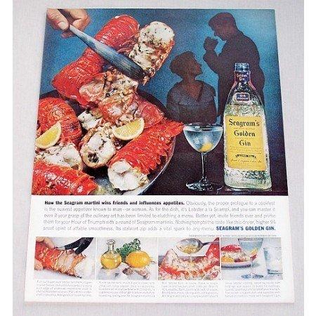 1960 Seagram's Golden Gin Color Print Ad - Lobster A La Scampi