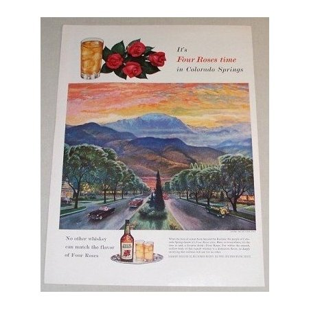 1955 Four Roses Whiskey Sunset Behind Pikes Peak Colorado Color Art Print Ad