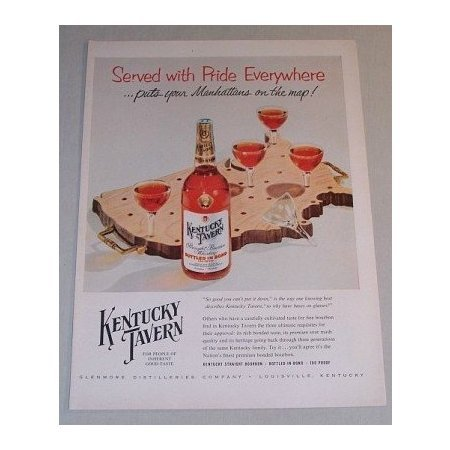 1955 Kentucky Tavern Whiskey Color Print Ad - Served With Pride Everywhere