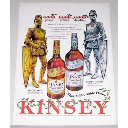 1948 Kinsey Blended Whiskey Knight Armour Color Print Ad - Noble Flavor