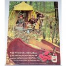 1961 Four Roses Whiskey Outdoor Camping Canoe Color Print Ad
