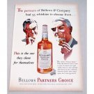 1953 Bellows Partners Choice Whiskey Color Art Print Ad