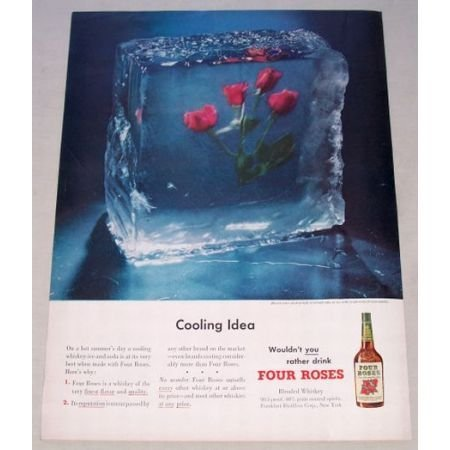 1950 Four Roses Blended Whiskey Color Print Ad - Cooling Idea