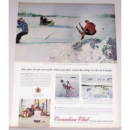 1963 Canadian Club Whiskey Ontario Skiing Color PrintAd
