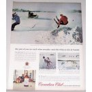 1963 Canadian Club Whiskey Ontario Skiing Color PrintAd