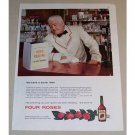 1954 Four Roses Whiskey Bartender Color Print Ad - Mind Reading