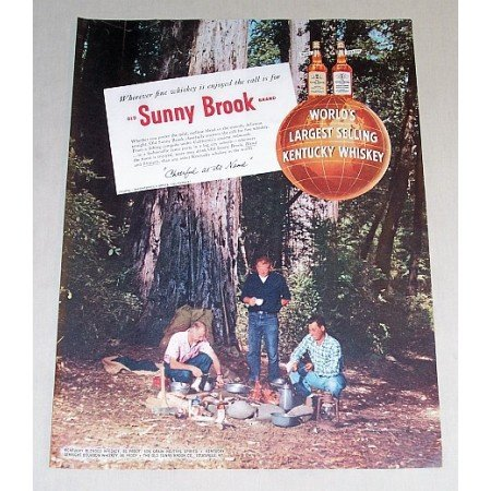 1954 Sunny Brook Whiskey Outdoor Camping Color Print Ad