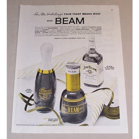 1954 Jim Beam Whiskey Shaker and Carafe Color Print Ad