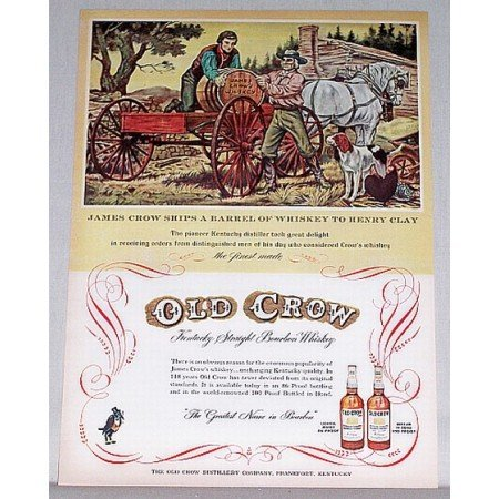 1953 Old Crow Bourbon Whiskey James Crow Art Color Print Ad