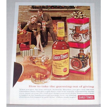 1961 Early Times Whiskey Color Print Ad - Take Guessing Out