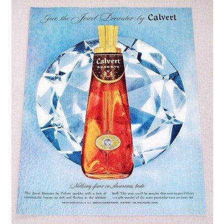 1956 Calvert Whiskey Jewel Decanter Color Print Ad
