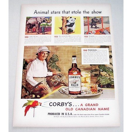 1948 Corby's Whiskey Jungle Scout Frank Buck Color Print Ad