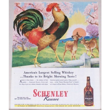 1945 Schenley Whiskey Rooster Deer Collins Art Color Print Ad