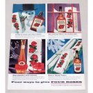 1956 Four Roses Whiskey Snowman Christmas Color Print Ad