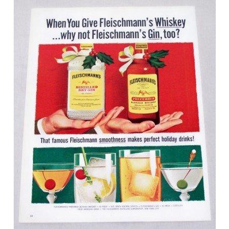 1956 Fleischmann's Dry Gin & Blended Whiskey Color Print Ad
