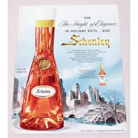 1956 Schenley Blended Whiskey Skyline Decanter Color Print Ad