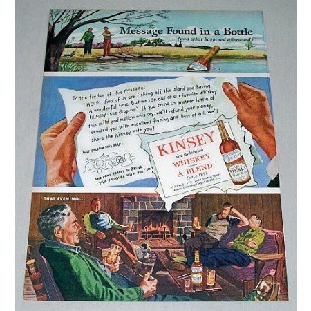 1946 Kinsey Whiskey Color Art Print Ad - Message In A Bottle
