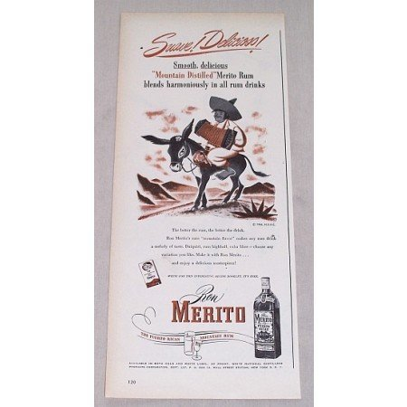 1946 Ron Merito Puerto Rican Rum Mule Animal Art Color Print Ad - Suave! Delicious!