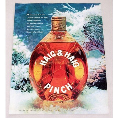 1956 Haig & Haig Pinch Scots Whiskey Winter Scene Color Print Ad