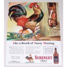1944 Schenley Whiskey Rooster Animal Art Color Print Ad - Sunny Morning