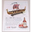 1944 GW Five Star Whiskey Viking Ship Art Color Print Ad - What A Great Day