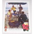 1960 Four Roses Whiskey Beach Party Color Print Ad