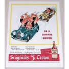 1944 Seagram's Five Crown Whiskey Color Art Print Ad - Car-Ful Driver