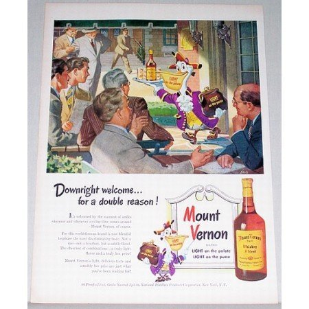 1948 Mount Vernon Whiskey Pelican Skelly Art Color Print Ad