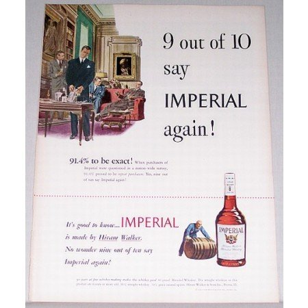 1948 Imperial Blended Whiskey Color Print Ad - Imperial Again
