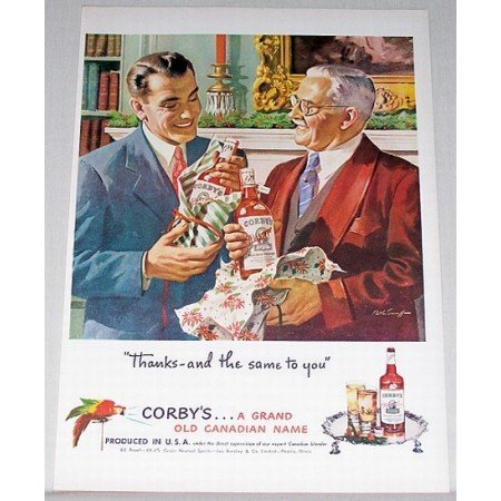 1948 Corby's Blended Whiskey Color Art Print Ad - Same To You
