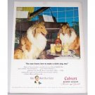 1947 Calvert Blended Whiskey Dog Animal Piano Color Print Ad - Make A Drink Sing