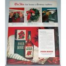 1948 Four Roses Whiskey Color Print Ad - Christmas Tradition