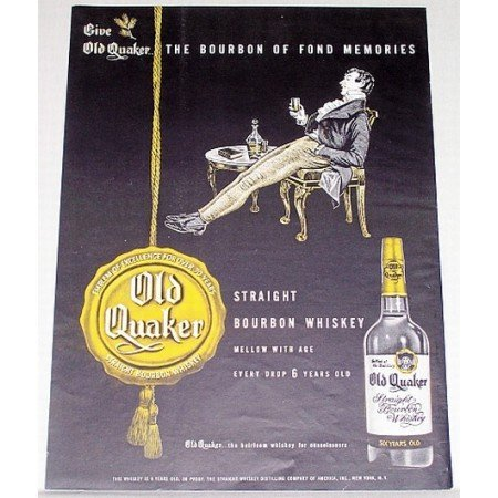 1948 Old Quaker Bourbon Whiskey Color Print Ad