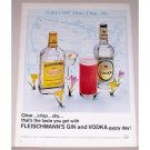 1965 Fleischmann's Gin Vodka Color Print Ad - Clear Crisp Dry