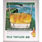 1964 Old Taylor 86 Whiskey Waterfall Scene Art Color Print Ad