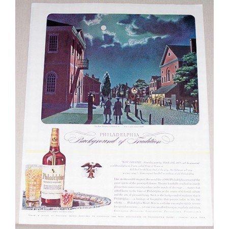 1944 Philadelphia Blended Whisky Whiskey Bingham Art Color Print Ad