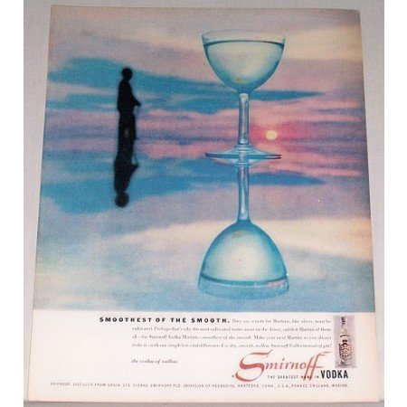 1957 Smirnoff Vodka Color Print Ad - Smoothest Of The Smooth
