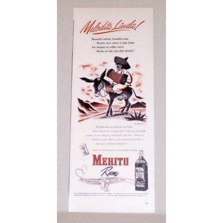 1948 Merito Puerto Rican Rum Color Print Ad - Melodia Linda
