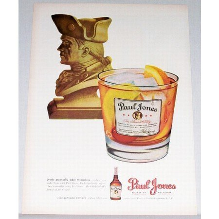 1948 Paul Jones Whiskey Color Print Ad - Label Themselves