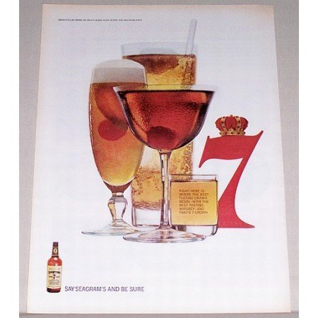 1964 Seagram's 7 Crown Whiskey Color Print Ad - Right Here