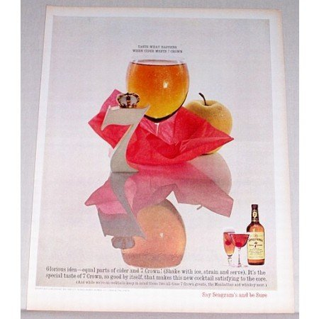 1963 Seagram's 7 Whiskey Color Print Ad - When Cider Meets 7 Crown