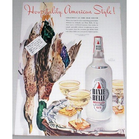 1942 Dixie Belle Distilled Gin Duck Animal Art Color Print Ad - American Style
