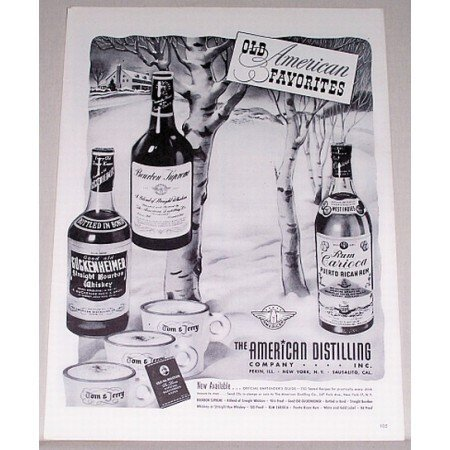 1943 American Distilling Company Winter Art Print Ad