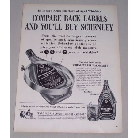 1949 Schenley Blended Whiskey Print Ad - Pre-War Quality