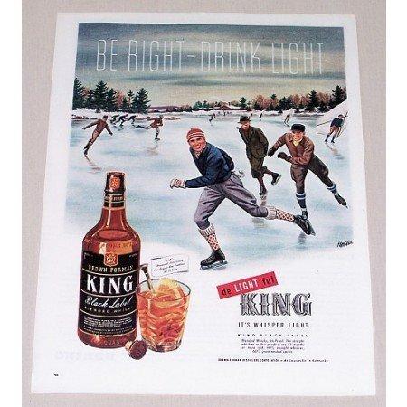 1945 King Black Label Whiskey Winter Ice Skating Art Color Print Ad