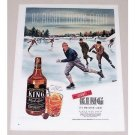 1945 King Black Label Whiskey Winter Ice Skating Art Color Print Ad