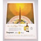 1947 Seagram's 7 Crown Whiskey Color Art Print Ad - Happy Returns