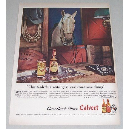 1946 Calvert Blended Whiskey Horse Animal Stable Color Print Ad